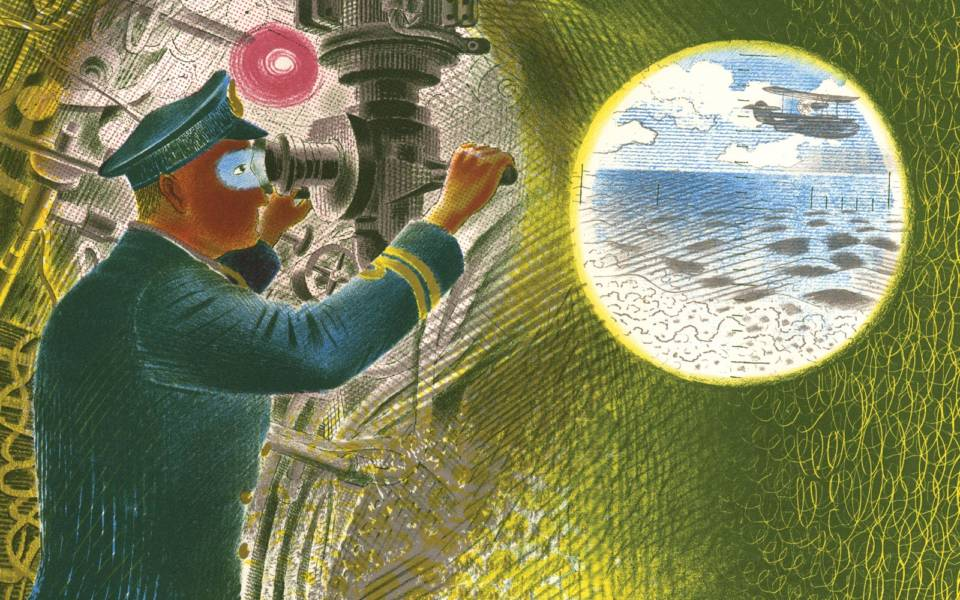 Eric Ravilious, Commander Looking Through the Periscope from the Submarine Series (1940-41)