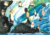 Painting depicting penguins standing on black rocks and land coloured blue, white and green.