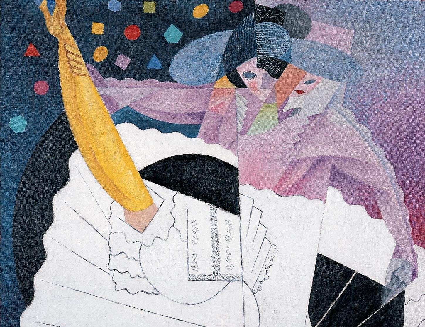 Painting by Gino Severini in cubist style with geometric shapes and patterns. Depicts a full length view of a dancer performing the Can-Can, wearing yellow hose and white petticoats.