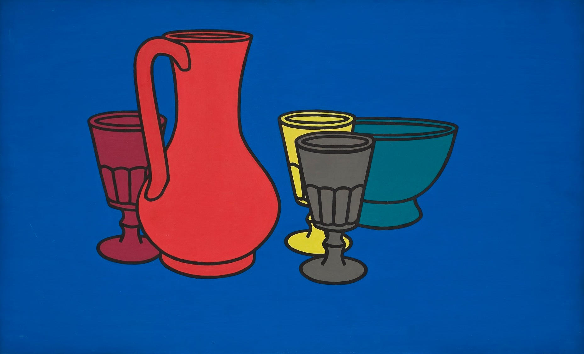 A still life arrangement of a red jug surrounded by a red, grey and yellow goblet and teal coloured bowl against a blue background.