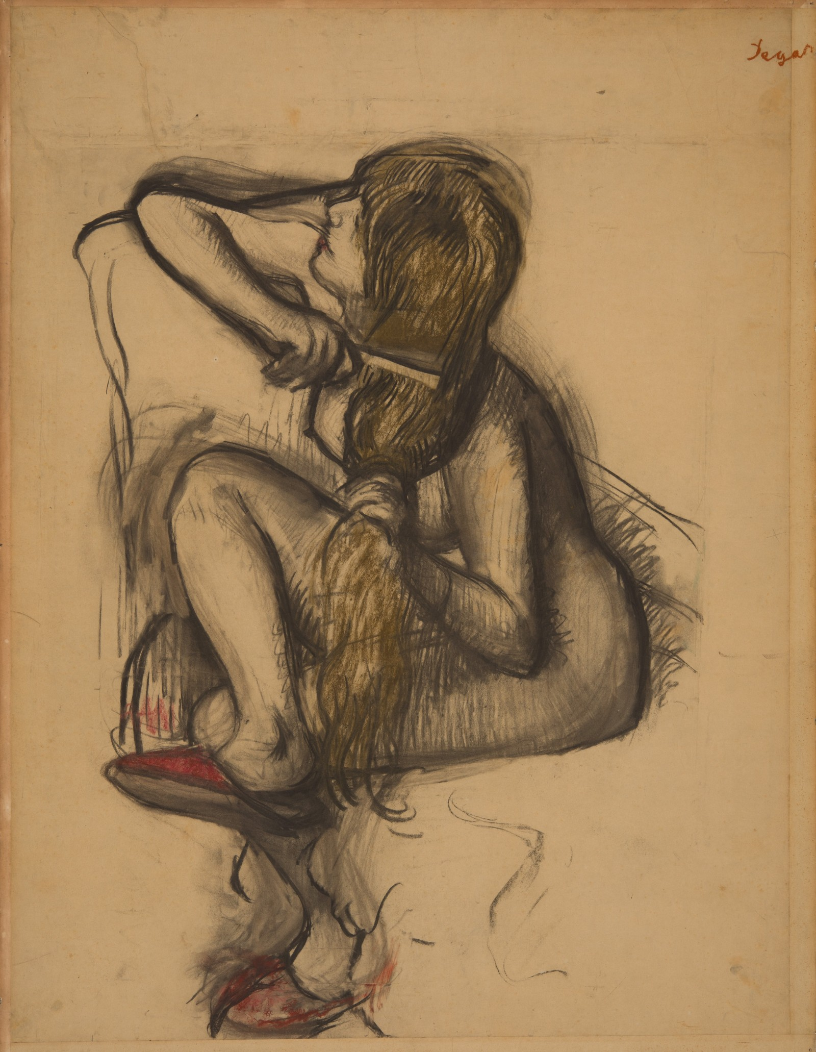 Charcoal drawing of a nude woman combing her long hair, wearing red shoes.
