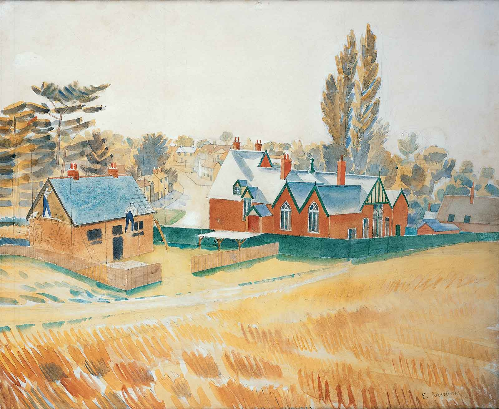 Painting showing a red brick building next to a tan coloured bungalow surrounded by fields of wheat