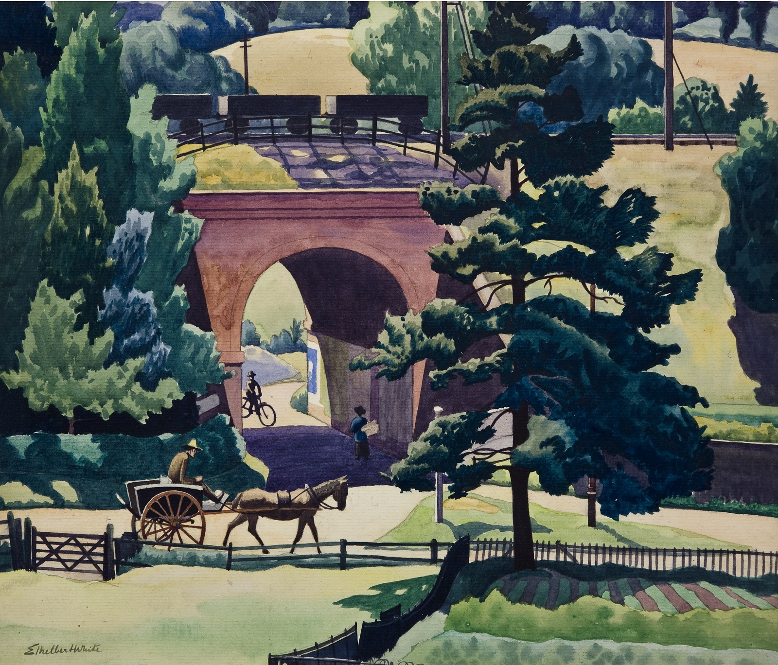 View of a railway bridge with rolling stock traveling across it. A person on a bike rides underneath the bridge towards someone else carrying a large bundle. In the foreground a horse and cart walks towards a green tree.