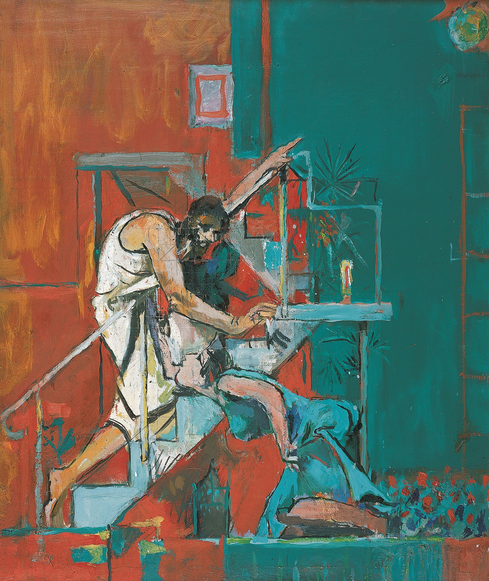 Painting showing a white robed Christ walking up a set of stairs and pointing upwards while a blue-robed woman kneels below him. The background is red and green.