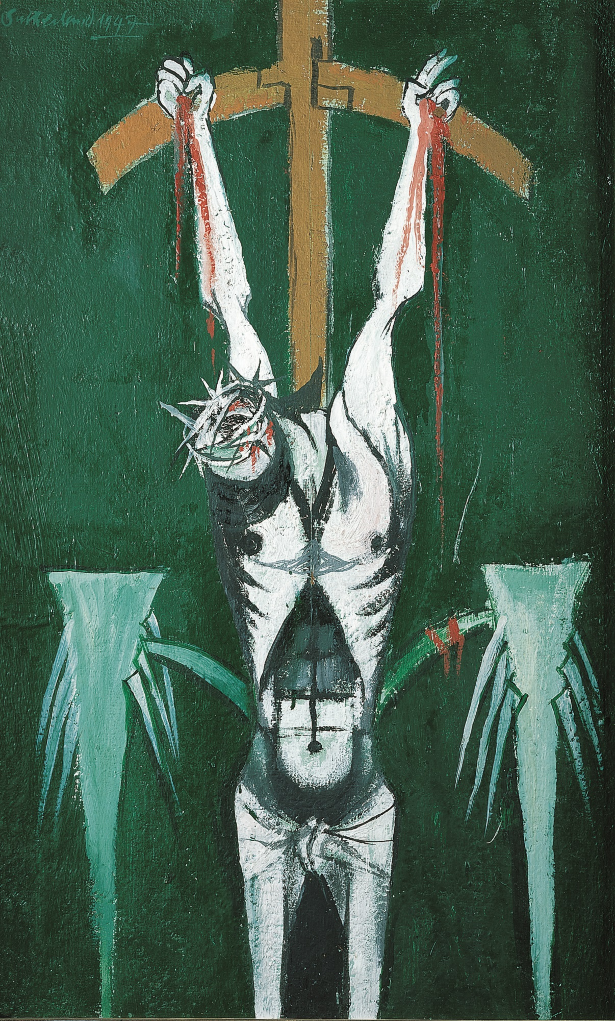 Painting depicting Jesus hanging on the cross, his head bowed and with an emaciated torso against a green background