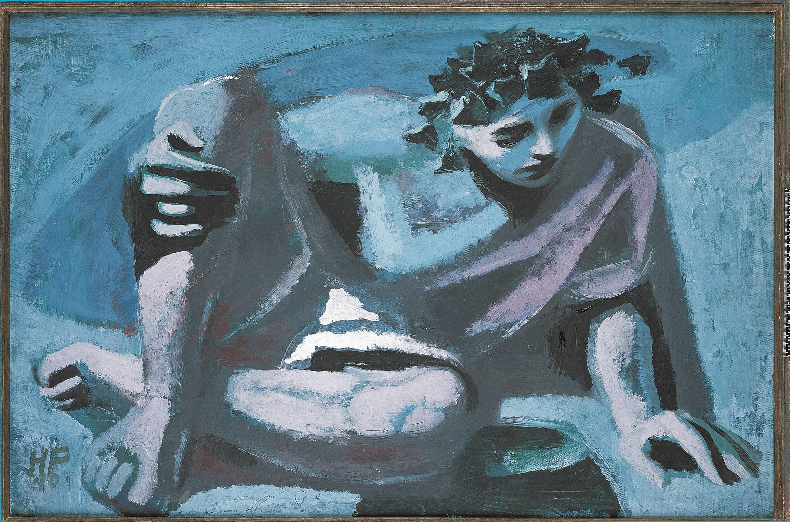 Blue toned painting of a young man with dark curly hair completely absorbed in looking at his reflection in an unseen pool at the bottom of the painting.