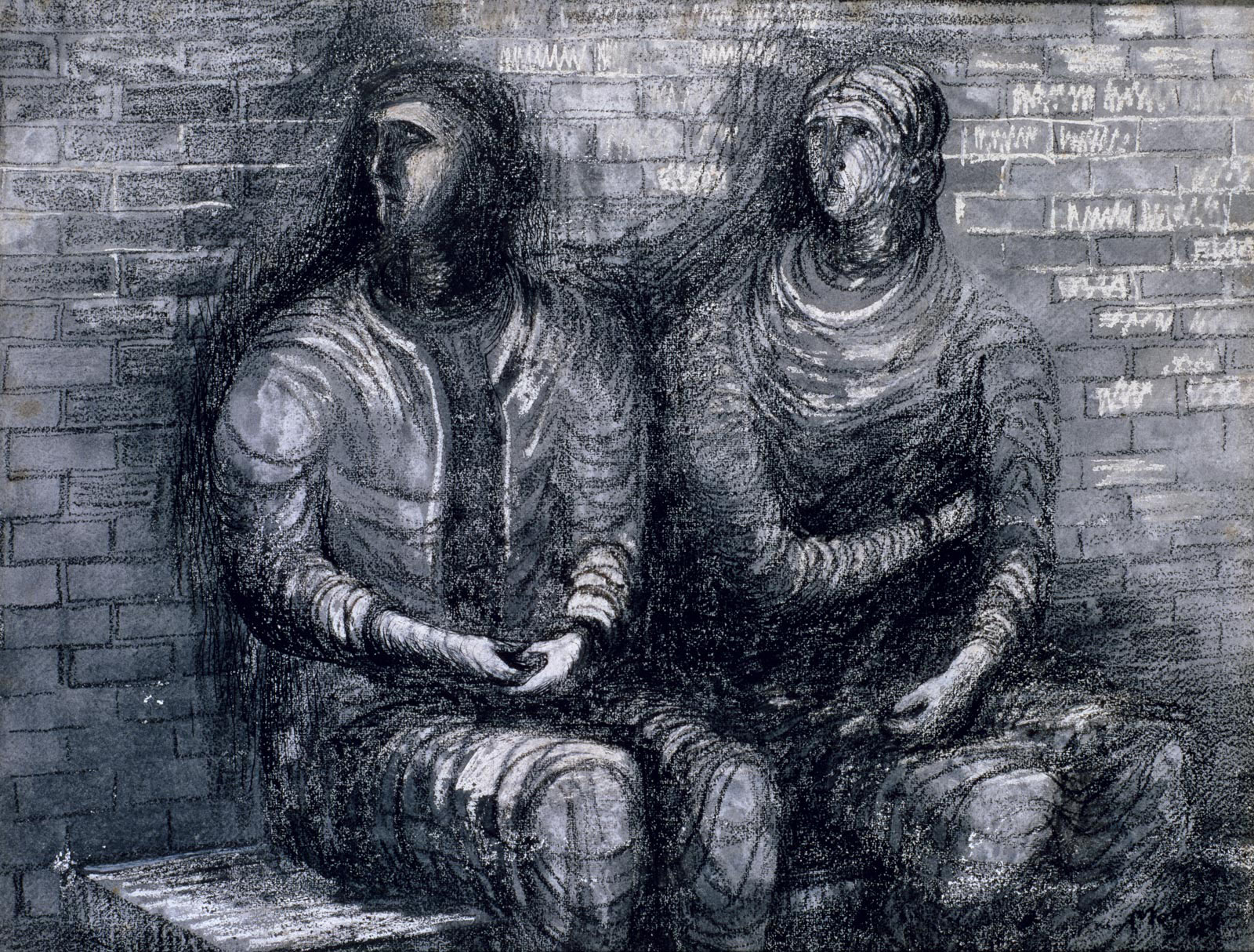 A black and white drawing showing two people huddled together on a bench looking worriedly towards picture left