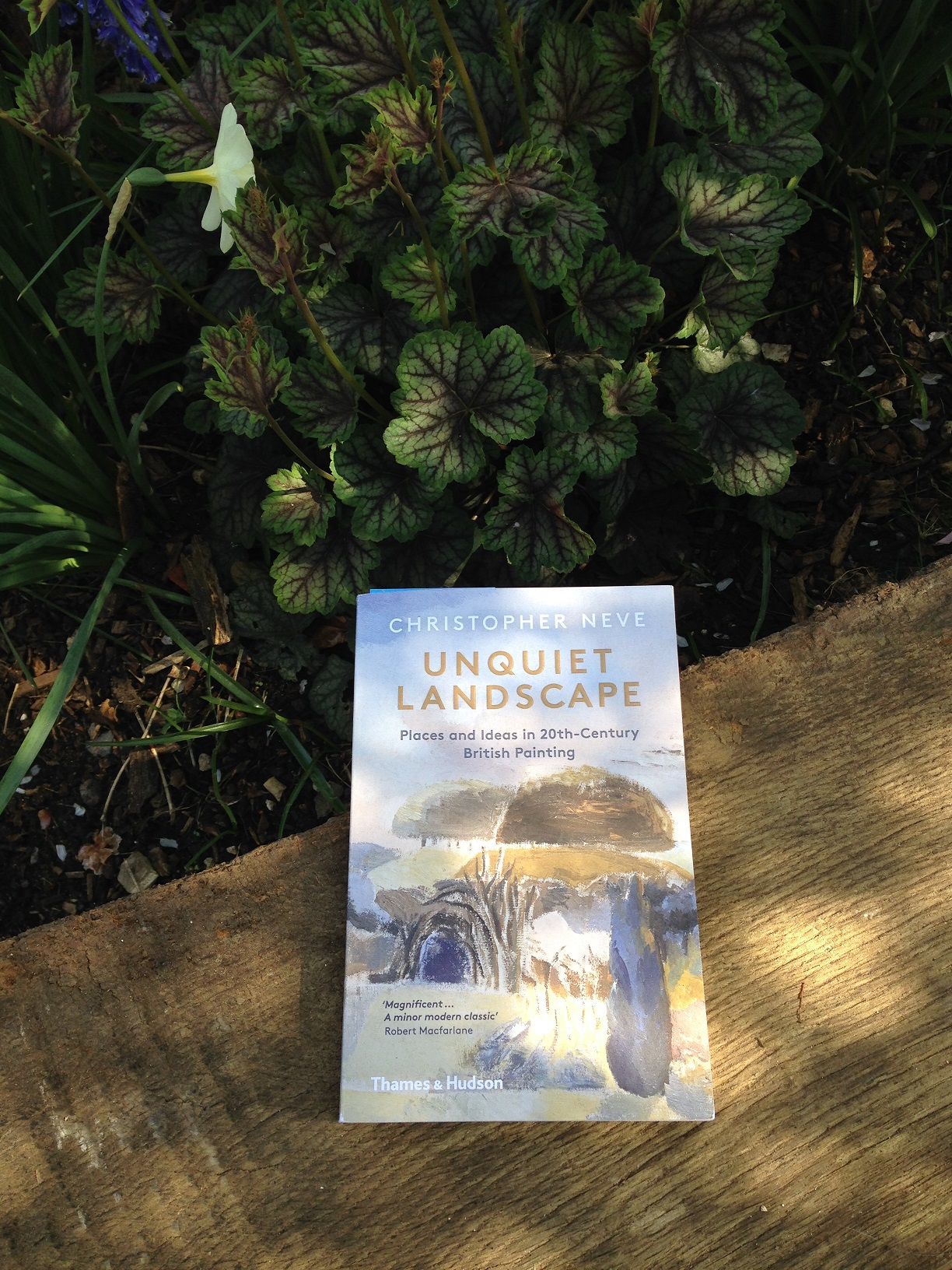 A photograph of the Unquiet Landscape book on a wooden bench against foliage in the background.