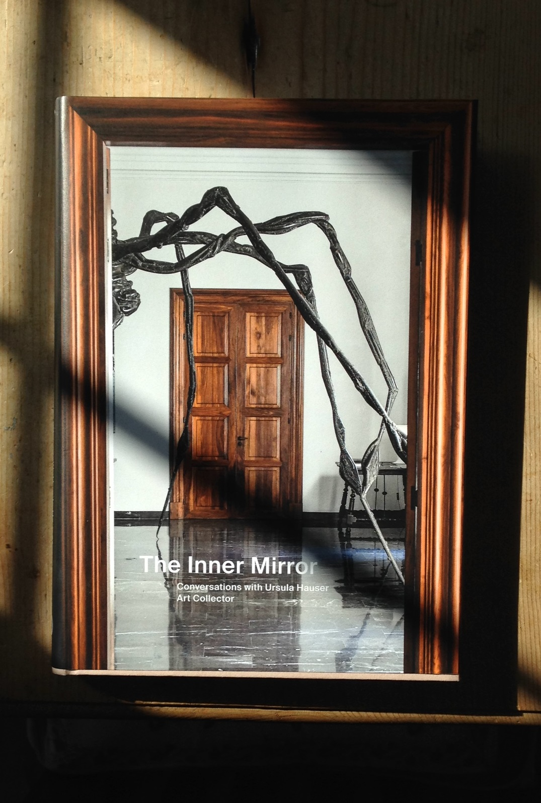 The cover of the book 'The Inner Mirror' catching the light.
