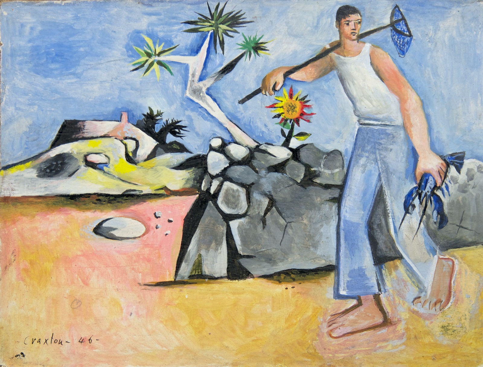 A man wearing blue trousers and a white vest top carrying a lobster net and carrying a blue lobster walks alongside a stone wall in an arid landscape.