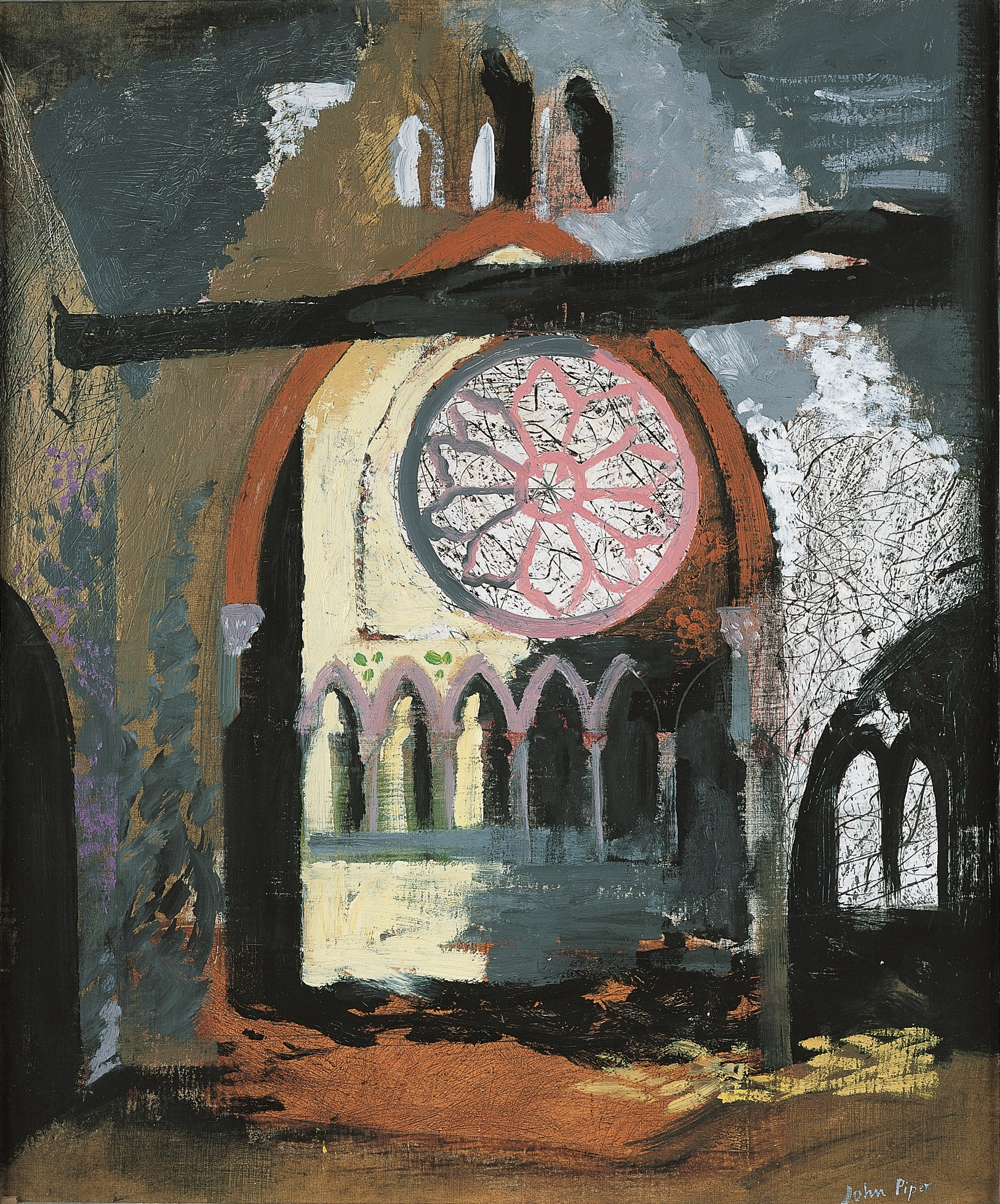 Painting showing the interior of a bomb blasted church with an intact stained glass window