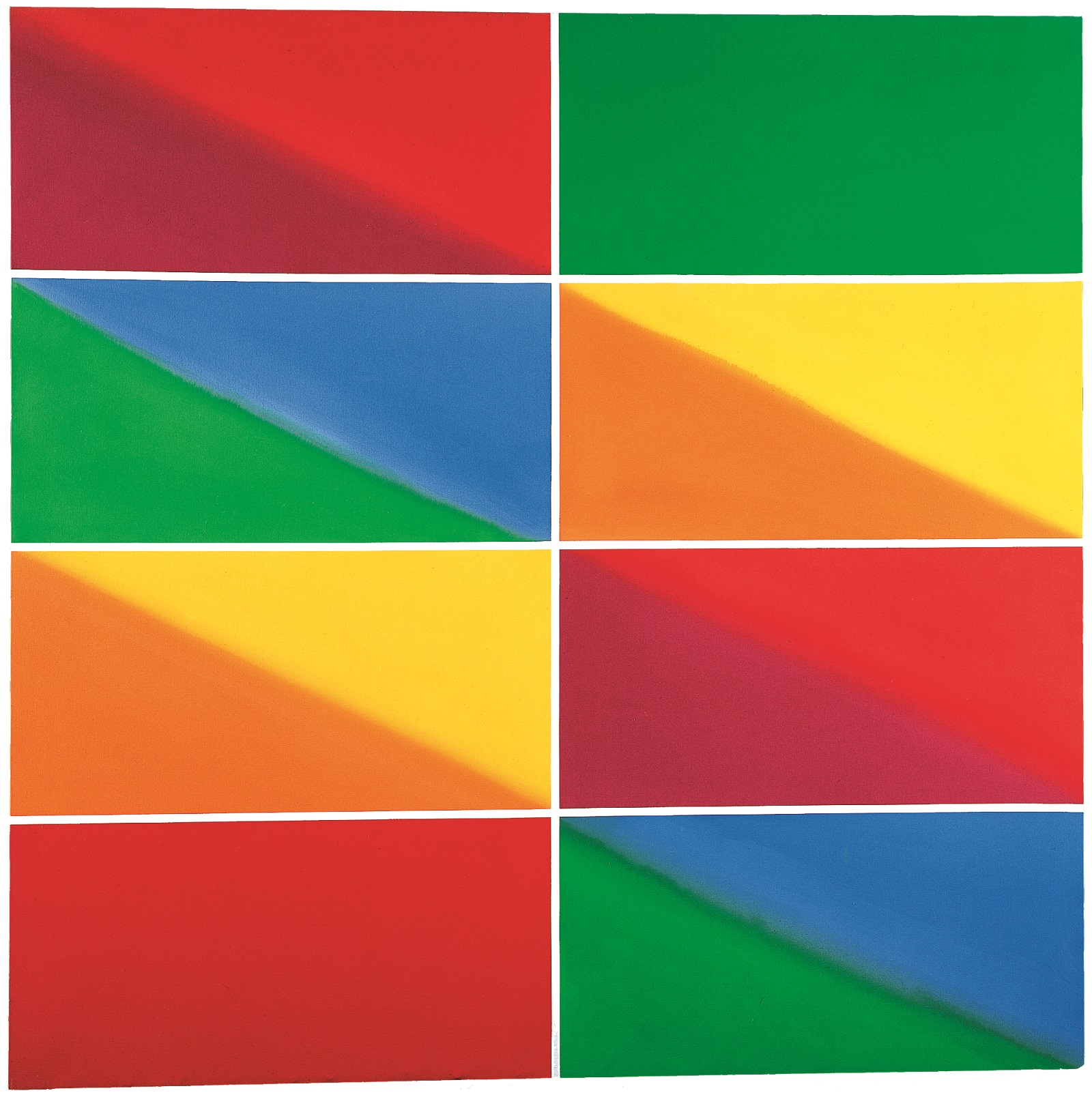 Abstract painting of eight blocks of colour in shades of red, green, yellow, orange and blue. All but two of the blocks are divided diagonally to feature two colours.