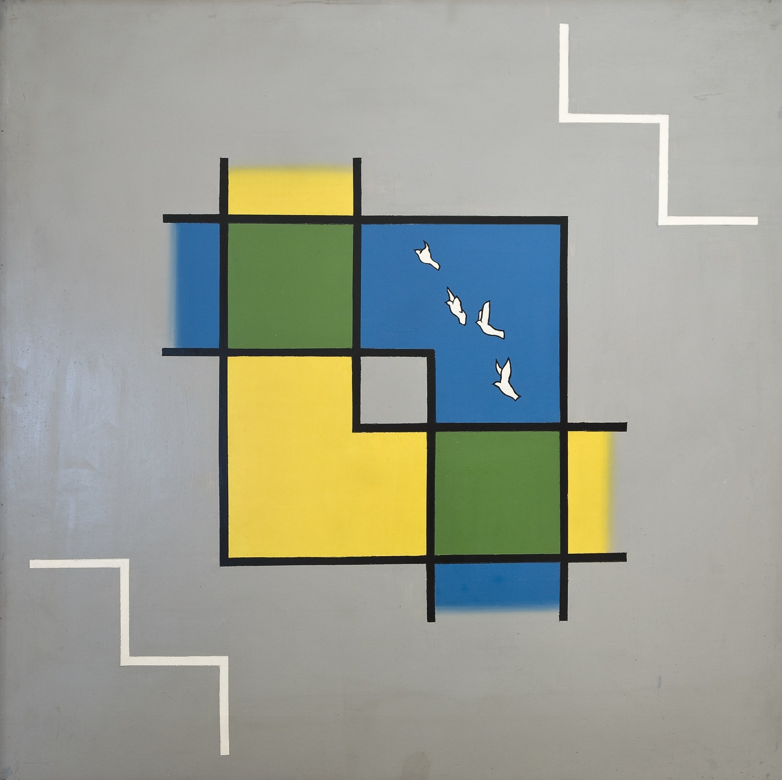 Two intersecting L shapes in blue and yellow, with four white birds outlined mid-flight against the blue. Where the shapes intersect, the colour turns green. Against a grey background.