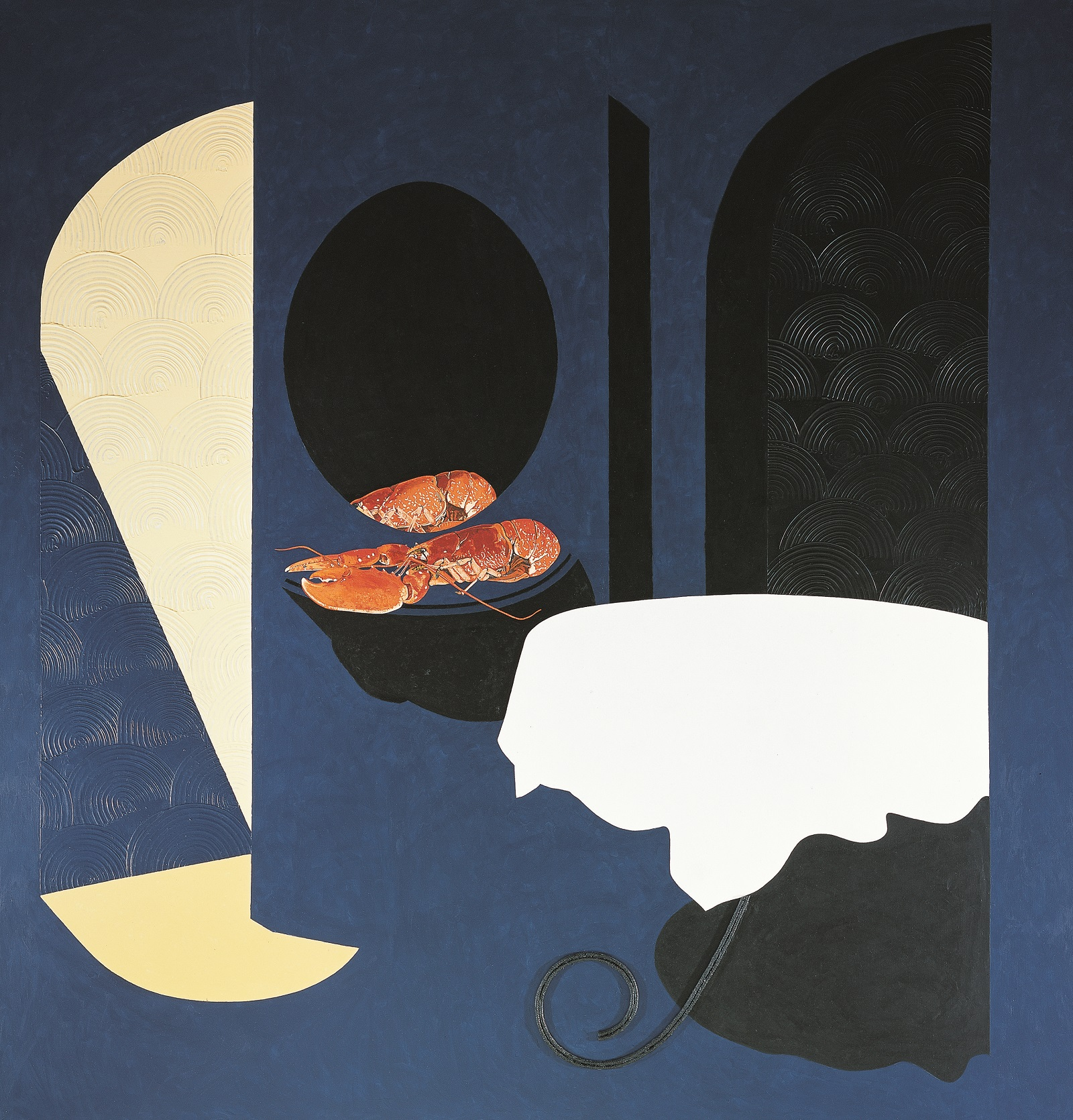 A white tablecloth draped over a round tabled against a dark blue background. To the left of the table is a lobster resting on a side table, partially reflected in an oval mirror.