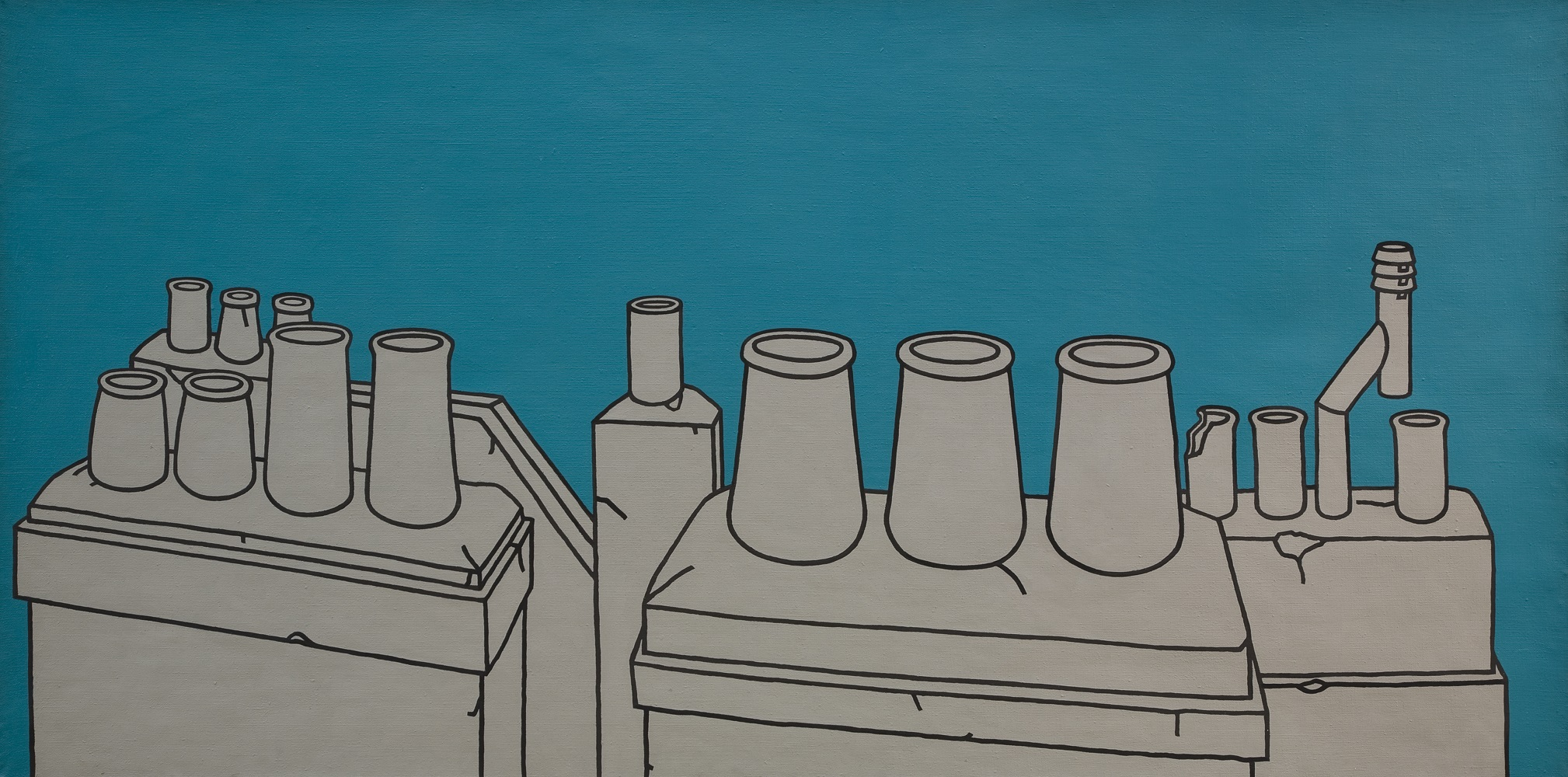 A view of chimney pots outlined in black and painted a flat grey colour against a teal background