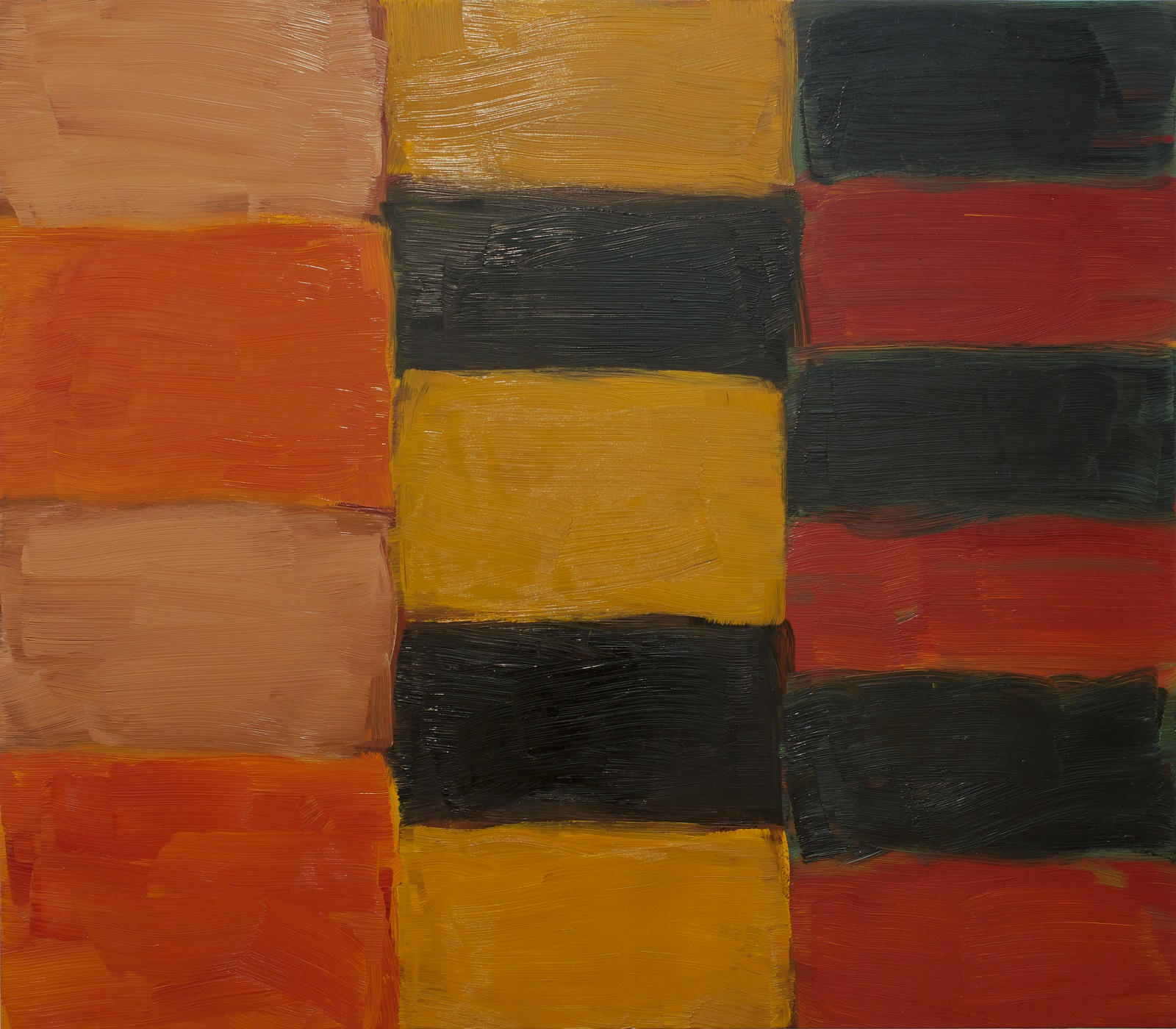 Three columns of coloured blocks. The left side has four blocks in orange and pale terracota orange; the central column has four blocks of yellow and black; the final column has six blocks in red and black.