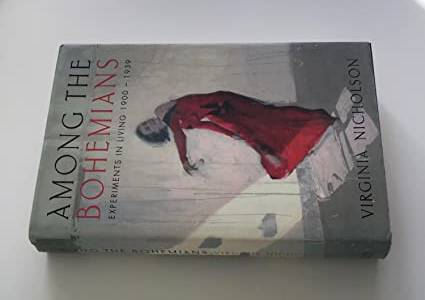 A colour photograph of a book titled Among the Bohemians by author Virginia Nicholson. Woman dancing in red dress on the cover