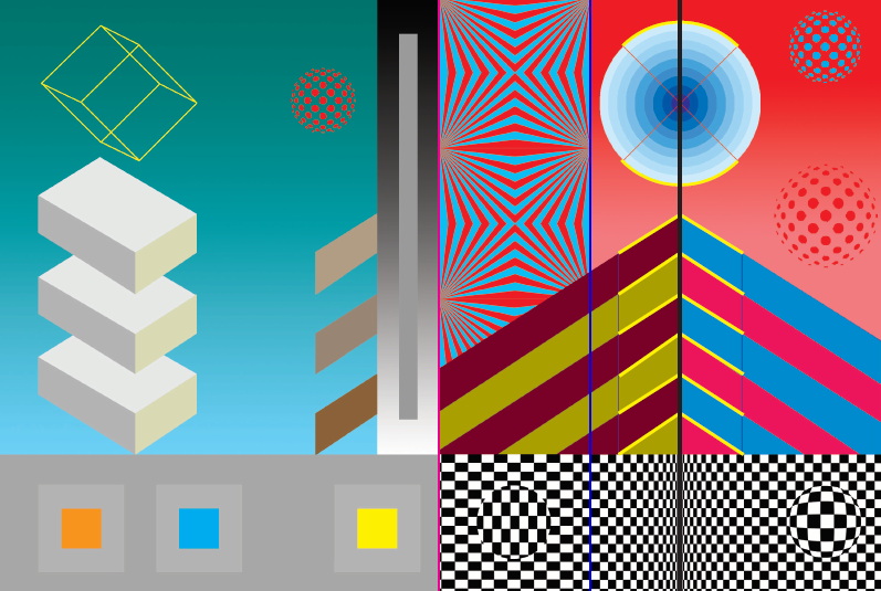 Colourful geometric shapes which produce optical illusions