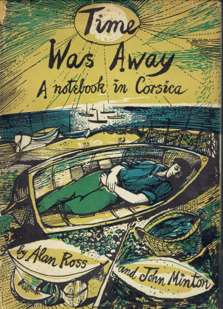A book cover depicting a young man with dark hair wearing military green trousers and a blue shirt sleeping ina rowing boat under a blazing sun