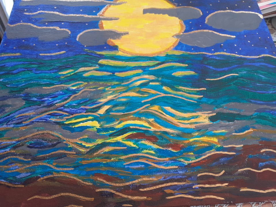 Painting showing a large full moon reflected in the sea