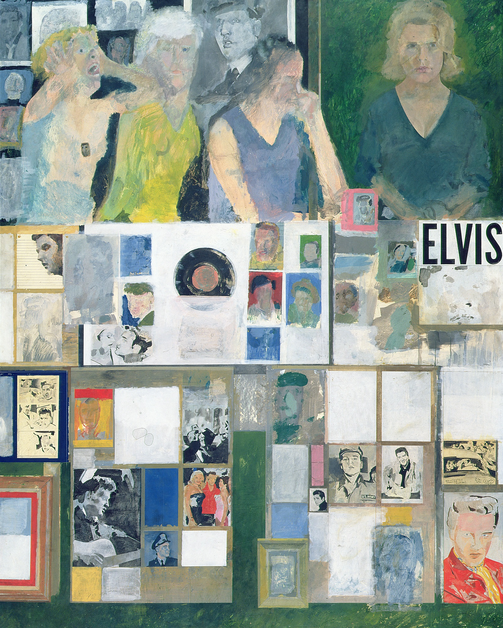 A painting featuring female fans in top third with panels of Elvis pictures and paraphernalia below.