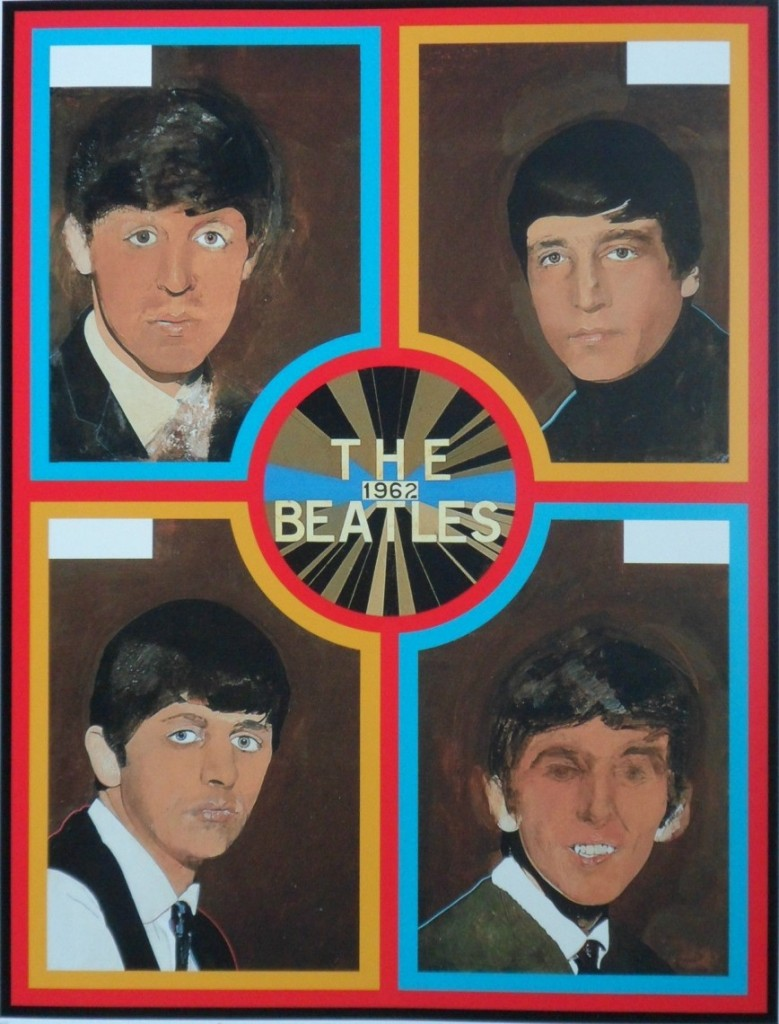 Picture divided into four, each corner with a portrait of one of the Beatles. Circle at centre with the legend