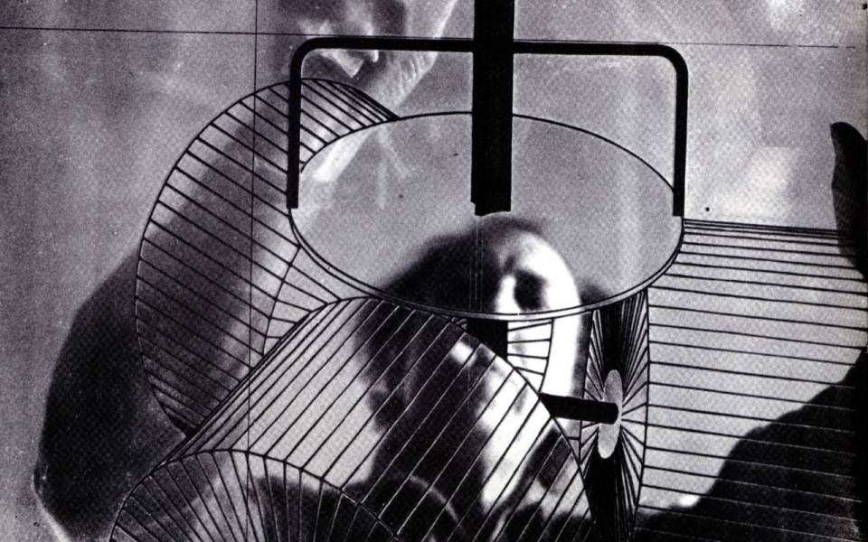 Richard Hamilton working on his reconstruction of Marcel Duchamp's The Large Glass
