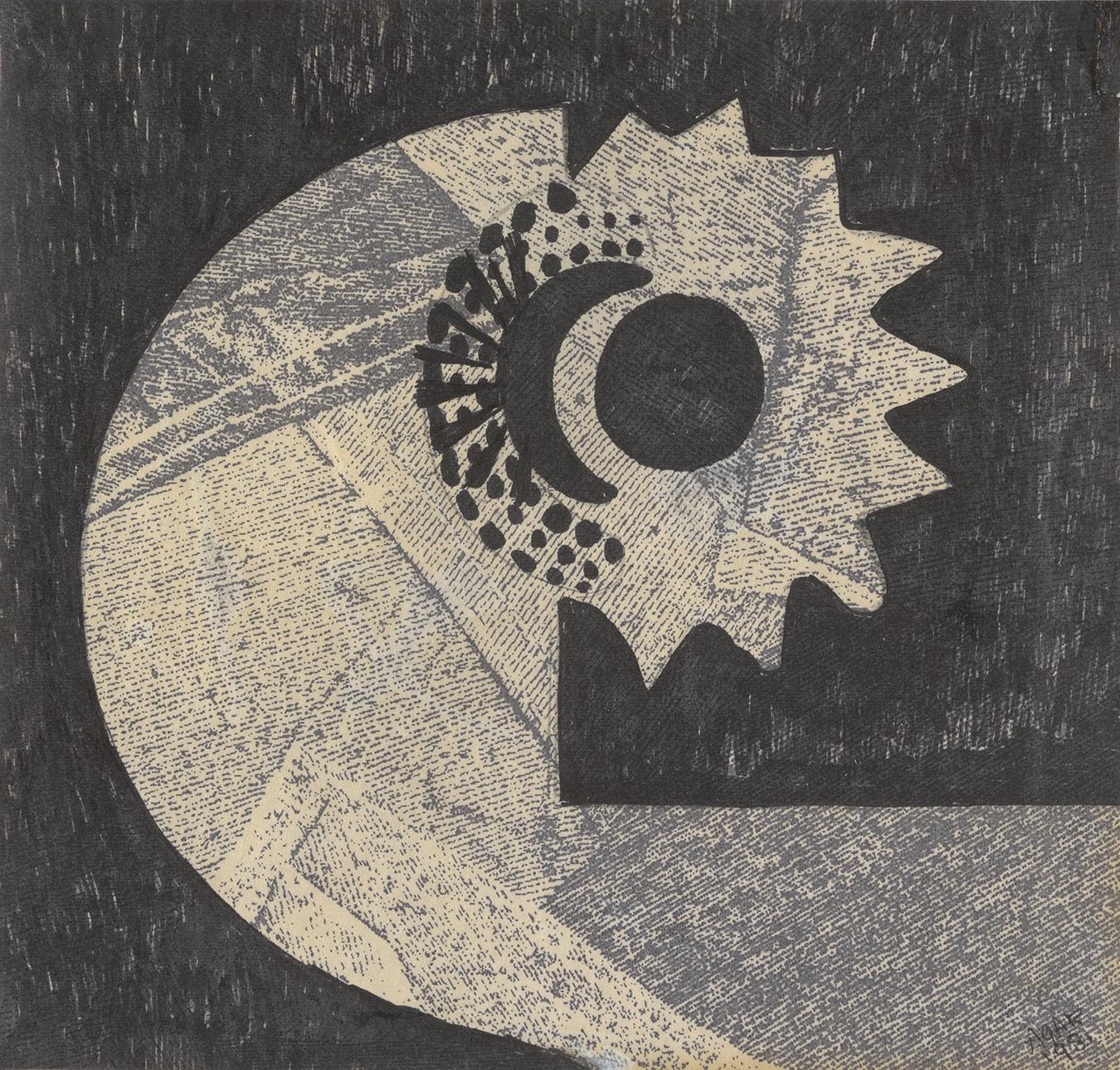 Eileen Agar, Black Flower, 1981, Ink on paper, The Petter Collymore Gift (2016) © Estate of Eileen Agar